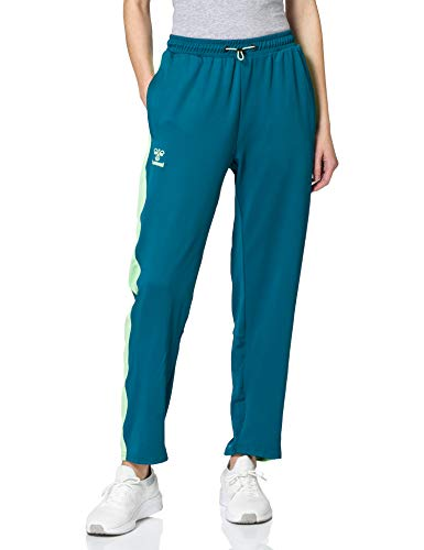 HUMMEL Womens HUMMEL ACTION TRAINING PANTS WOMAN Sweatpants, Blue Coral/Green ASH, L
