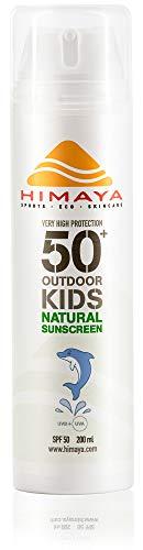 HIMAYA Bio Sonnenschutz (Kids SPF50+, 200ml) |Wasserfeste Schweißfeste | Nachfüllbar | Sport Sonnencreme | Nicht Nano Zink | Natürliche Inhaltsstoffe Riffsicher UVA /B Schutz | Umweltfreundliche