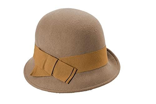 CRUSHABLE SOFT HAT Sombrero de mujer de fieltro, York Junta Grosgrain, barro, 57