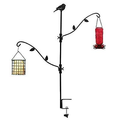 Multi-Hook Bird Feeder Pole Deck Kit Metal Deck Hook Bird Feeder Kit with Two Adjustable Branches