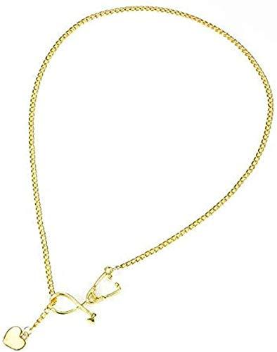 Collar, collar con estetoscopio, colgante Lariat Coeur, color oro rosa, negro, dorado, nuevo collar de enfermera, Collares médicos