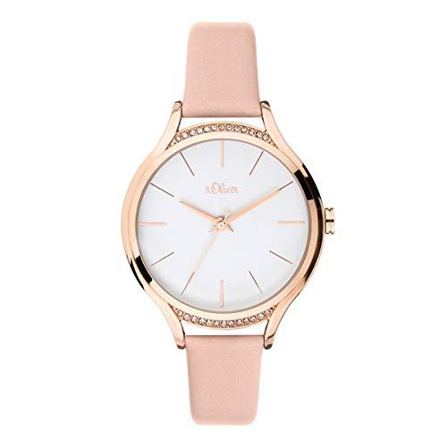 s.Oliver Damen Analog Quarz Uhr mit Leder Armband SO-3695-LQ