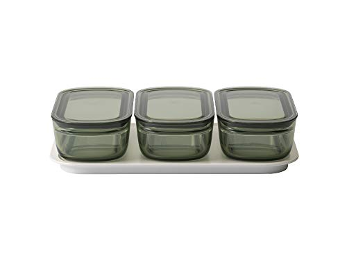 ライクイット (like-it) キッチン収納 調理ができる 保存容器 Mサイズ3個組 グリーン+トレーL ホワイト FC-034 冷凍保存可 食器洗い乾燥機可