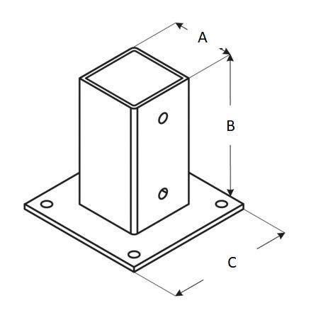 ADGO® - Soporte para poste de valla de 90 x 90 mm atornillable en ...
