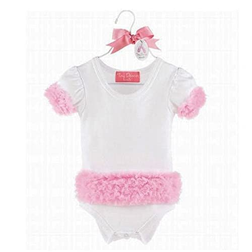 Mud Pie Baby Tiny Dancer Tutu Bodysuit with Puffy Sleeves, White/Pink, 0-6...