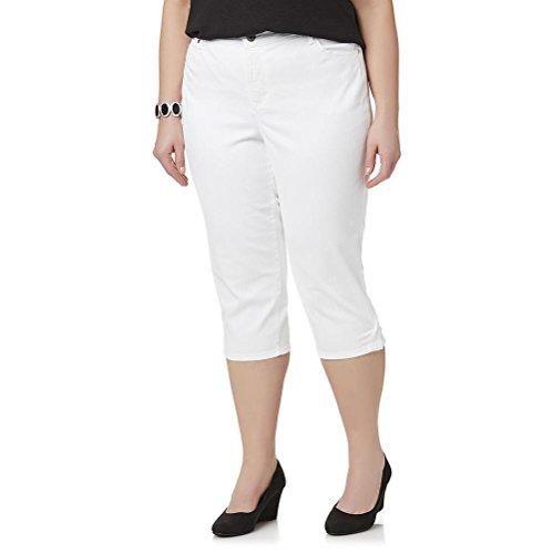 Gloria Vanderbilt Women's Jordyn Embellished Capris (24W) Shell White
