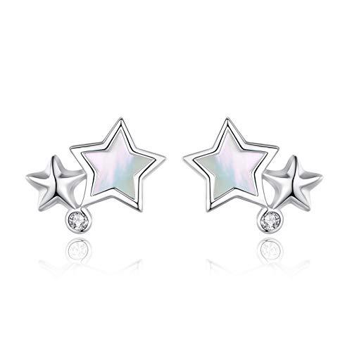 VIKI LYNN Pendientes de estrella doble para mujeres y niñas de plata de ley 925, joyería de madreperla