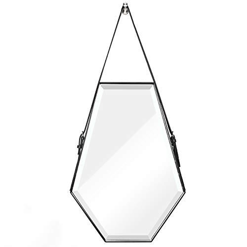 ABCWY Espejo Colgante, Espejo De Baño con Borde De Cuero Sintético Hexagonal, Espejo De Vanidad De Estilo Nórdico - Correa Ajustable (50x70 Cm)