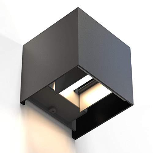 Hama LED Wandleuchte für innen und außen (dimmbare Smart Home Lampe für Alexa und Google Assistant, Sprachsteuerung u. per App, Außenleuchte mit Schutzklasse IP44, 2700K bis 6500K) schwarz