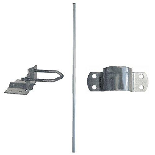 SkyRevolt 2m Antennenmast SR-48 Stahl 48 mm Satmast verzinkt + Mastfuss + Mastschelle Stahl