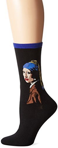 Hot Sox Women's Artist Series Crew Socks | Girl With The Pearl Earring, Royal Purple, Shoe Size: 4-10