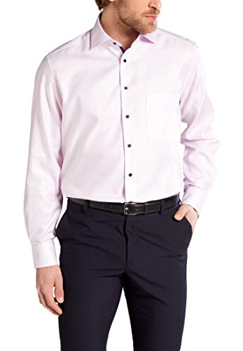 eterna Langarm Hemd Comfort Fit Twill strukturiert, Rose, 45