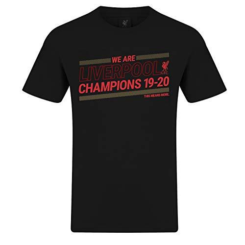 Liverpool FC - T-Shirt für Kinder & Herren zum Premier-League-Sieg 19/20 - Offizielles Merchandise - Schwarz - XXL