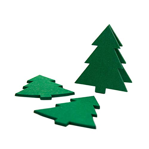 Oblique Unique® Filzuntersetzer Weihnachtsbäume 4er Pack Dunkelgrün Christbaum Tanne Glas Untersetzer für Tisch und als Deko zu Weihnachten Advent Weihnachtsdeko