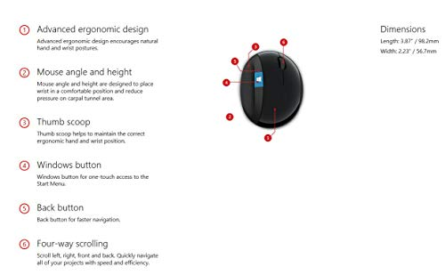 Microsoft Sculpt Ergonomic Mouse (Maus, schwarz, ergonomisch, kabellos)
