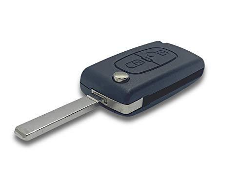 Shoppy Lab Guscio Scocca Chiave Telecomando 2 Tasti Ricambio Compatibile Per Auto Citroen C1 C2 C3 C4 C5 E Con Vano Batteria Su Scheda Elettronica Chiave Completa di Guscio E Lama