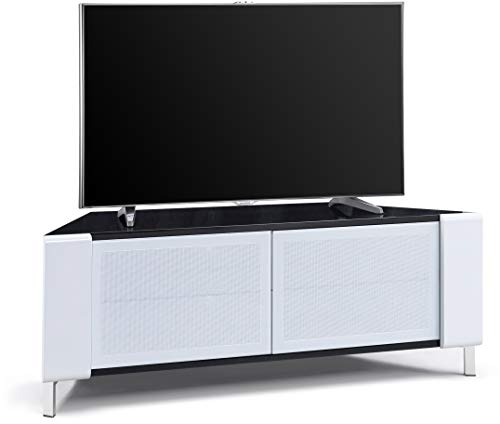 """MDA Designs CORVUS Corner-Friendly Gloss Black Contemporary Cabinet with White Profiles White BeamThru Glass Doors Suitable for Flat Screen TVs upto 50"""""""