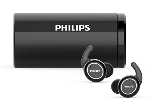 Philips Audio In Ear Sportkopfhörer TAST702BK/00 Ear Pods (Bluetooth, 18 Stunden Akkulaufzeit, Ladegerät mit UV-Reinigung, Wasserdicht IPX5, Schweißfest) Schwarz, One Size