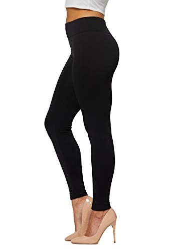 Conceited Fleece Lined Leggings for Women in 20 Colors - Reg & Plus Size - Warm Winter Sweatpants Thermal Yoga Black - Small - Medium