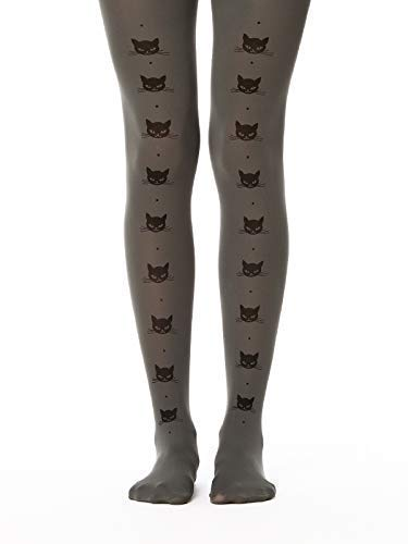 Cat Line Patterned Opaque Pantyhose for Max 64% Luxury goods OFF Women Gr - Tights