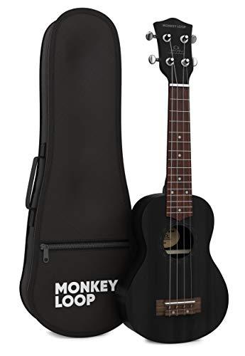 Monkey Loop - Serie Stone - Ukelele Soprano - Funda Incluida - Color Negro - Fabricado en Madera Sapeli - Cuerdas Aquila - Clavijeros Plateados y Cerrados - Materiales Resistentes - Alta Calidad