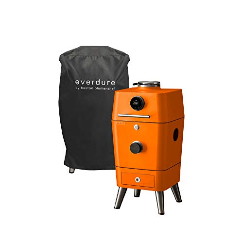 """Everdure by Heston Blumenthal 4K Electric Ignition Charcoal Grill & Cover Bundle, Oven & Smoker, 21"""" Grilling Surface, Bluetooth Connectivity, Orange"""
