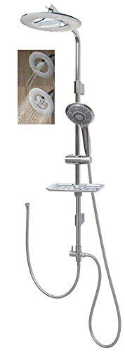 Duschset mit Regendusche 100cm Duschstange Handbrause mit fünf Funktionen höhenverstellbare Wandhalterung in Chrom