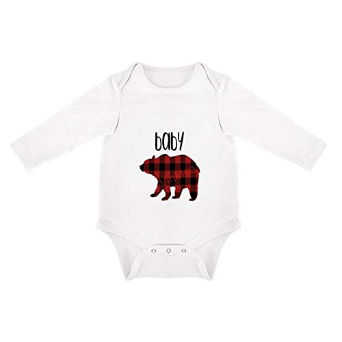 Funny Onesie Bodysuit,Long Sleeve Bodysuit Red Buffalo Plaid Baby Bear Holiday Newborn Baby Boys Girls Jumpsuit (6-9 Months, White)