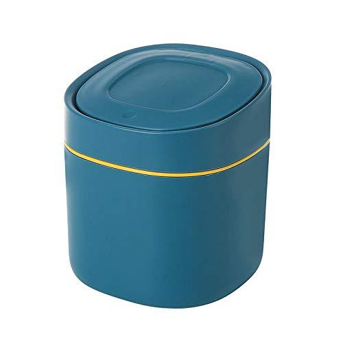 SKKGR Desktop Tischabfallbehälter Multifunktionale Mülleimer Mini Mülleimer Desktop Mülleimer Niedlich Desktop Plastik Mülleimer Bürobedarf Mülleimer-Blue_4L
