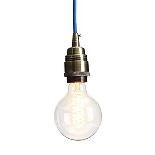 KINGSO E27 Edison Lampenfassung Pendelleuchte Hängelampe Halter DIY Lampe Zubehör im Vintage-Stil mit Färbigen Textilkabel & Stecker Dunkelblau