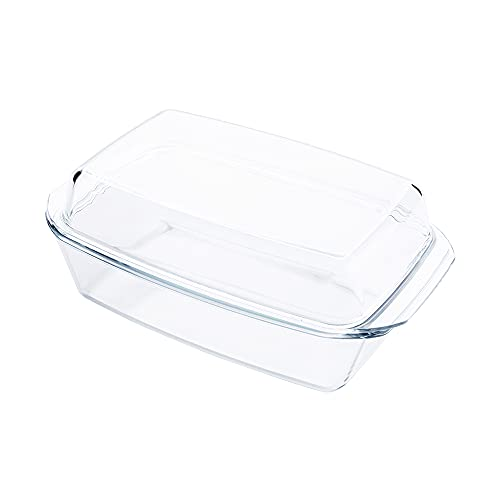HUSANMP 5QT Clear Tempered Glass Casserole Dish with Lid, Glass Loaf Pan with Cover, Glass Baking Dish for Oven, Freezer, Dishwasher Safe
