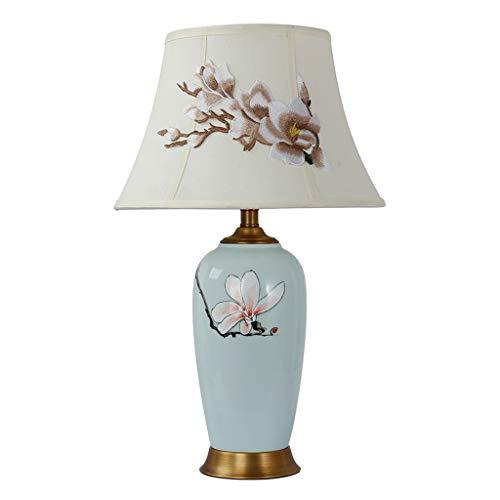Hong Yi Fei-Shop lámpara de mesita Lámpara de Mesa de cerámica Floral de 25'Lámpara de Mesa clásica clásica Pantalla de Tela Bordada Luz Nocturna