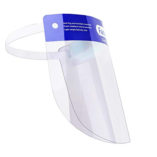 Reusable Safety Face Shield Anti-Fog Protective Face Visor Masks with Elastic Band, Transparent Mask for Men and Women (Pack of 10)