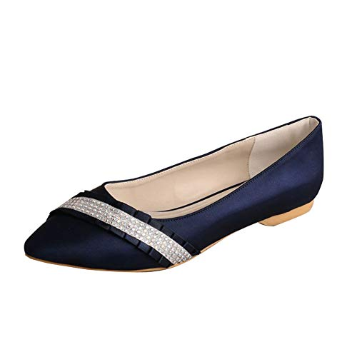 Charmstep Bailarinas De Novia Satén para Mujer, Punta Cerrada Zapatos De Boda con Diamantes De Imitación MQW-540,Armada,38 EU