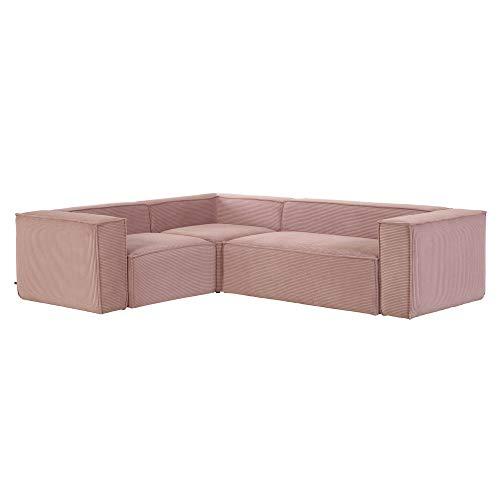 Kave Home - Pink Velveteen Blok 4 Seater Corner Sofa 320 x 230 cm