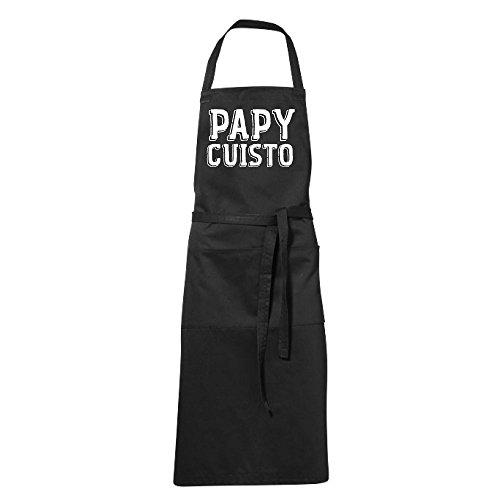 stylx design Tablier humoristique de cuisine noir PAPY CUISTO