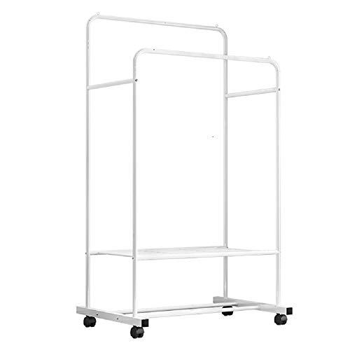 unho Rolling Clothes Garment Rack Double Rail on Wheels Clothing Hanging Rack Coat Rack with Shelf for Store Bedroom Dressing Room White
