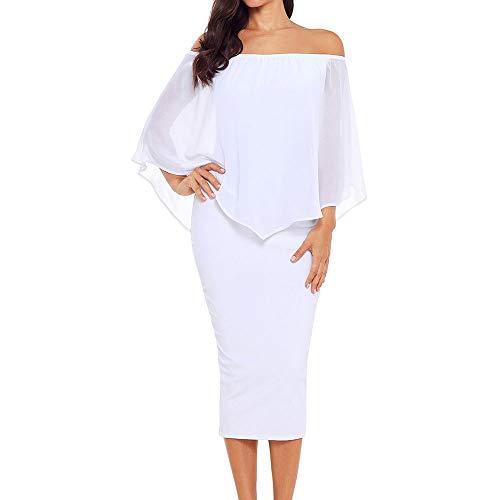Alaster Queen Women's Off The Shoulder Bodycon Midi Dress Chiffon Ruffled Cocktail Dress for Women (White, Medium)
