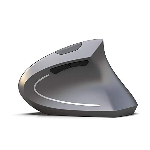 Hakeeta Ratón Vertical inalámbrico Bluetooth, 800/1600/2400DPI Ajustable, cómodo ratón ergonómico inalámbrico para Juegos(Gris)