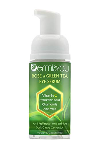 Dermisyou Eye Serum Anti Aging Rose and Green Tea 1.33 OZ with Hyaluronic Acid, Vitamin C and E Anti Puffiness, Anti Wrinkle, Dark Circles Made In USA