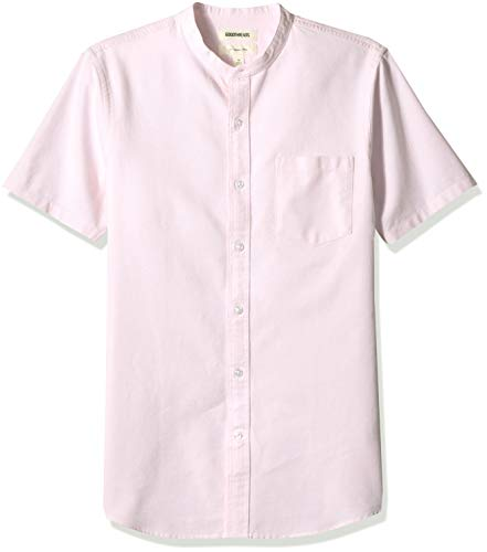 Goodthreads Men's Slim-Fit Short-Sleeve Band-Collar Oxford Shirt, -pink, Medium