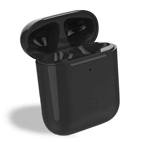 Reemplazo actualizado de la Caja de Carga inalámbrica Qi Compatible con AirPods 1 2, con botón de sincronización Bluetooth, Cubierta Protectora del Cargador AirPod (Black)