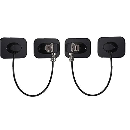 YepYes Nevera Nevera Bloqueo de Cierre con Adhesivo Fuerte Childrenproof Latch Cable restrictor de Seguridad para Niños (Negro 2 Unidades)