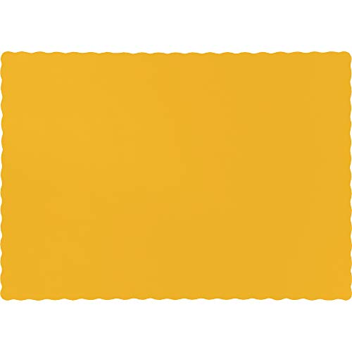 Creative Converting Paper Scalloped Edges Placemats, 10 x 14, Schoolbus Yellow