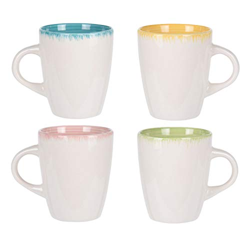 Kaffeetasse 320 ml aus Porzellan weiß mit bunt - 4er Set - Kaffeebecher Tasse Becher