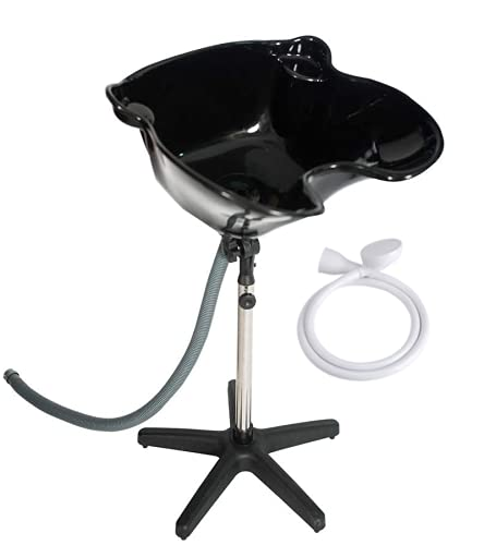 Cris nails - kit lavacabezas y ducha para lavar el cabello, lavacabezas portátil negro con grifo (Lavacabeza portatil grande con grifo)