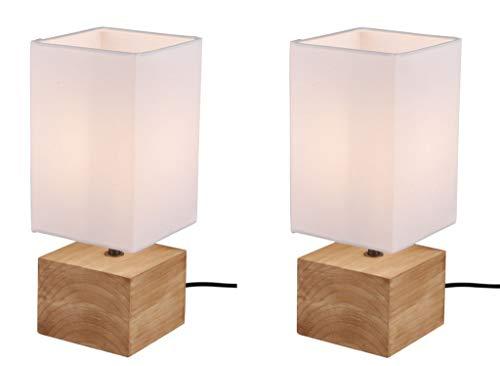 2er Set Tischlampe Tischleuchte Holz 4W E14 LED Naturholz 30cm KH50171001