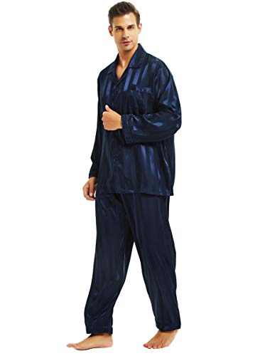 Lonxu Herren-Pyjama-Set, seidiges Satin, Schlafanzug, Loungewear, gestreift, S-4XL Gr. L, Marineblau gestreift