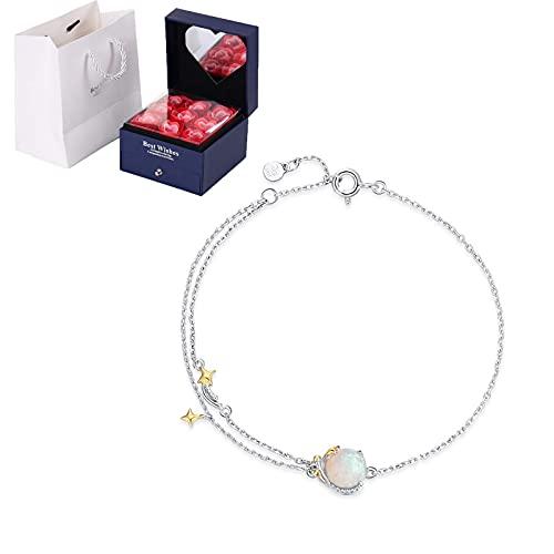 SMEJS 925 Pulsera de personalidad simple de temperamento de plata de ley, collar de ópalo artificial colorido de meteorito, regalo de joyería del día de la madre de San Valentín de cumpleaños, pl