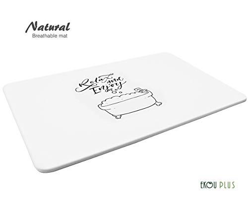 EKOU PLUS Bath Mat, Japanese Design Bathroom Floor Mats Hard Shower Mat (New-3023-Relax and Enjoy-L, White)